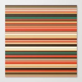 Old Country Stripes - Green Cinnamon - Horizontal Canvas Print