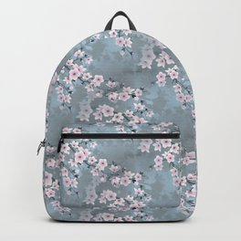Dusky Pink Grayish Blue Cherry Blossom Backpack