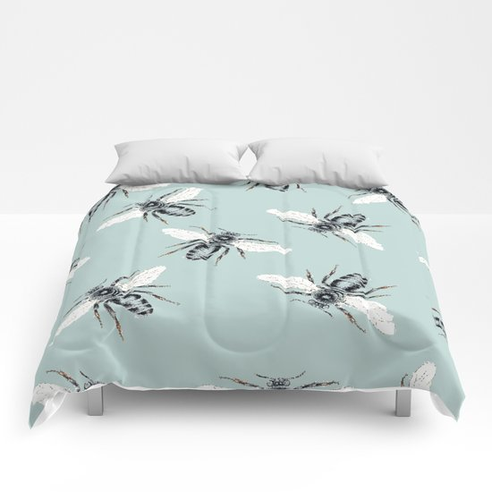 bees on blue Comforters