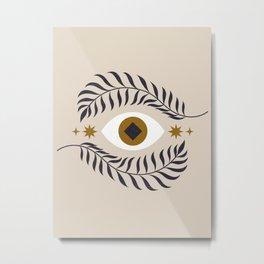 Mid Century Magic Minimalist Trendy Mystical Eye Plant Leaves Neutral Tones Bohemian Symbol Astrological Style Metal Print