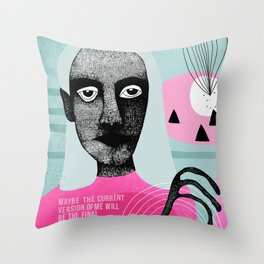 Portrait Art Brut Outsider Art Throw Pillow