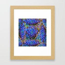 ORNATE BLUE-PINK SUCCULENT ART Framed Art Print