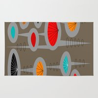 mid century modern Area & Throw Rugs featuring Mid-Century Modern Space Age by Kippygirl