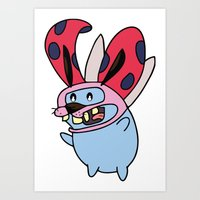 catbug Art Prints featuring Catbug Courage by Ilse S