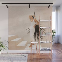 Minimal Woman with a Palm Leaf Wall Mural