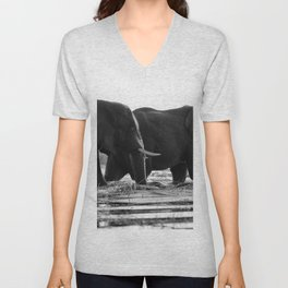 Elephants (Black and White) Unisex V-Neck