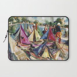 A September sun illuminates the boat tender's stand, No. 1 - The Tuileries pond, Paris Laptop Sleeve