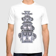 robo totem 1 White Mens Fitted Tee MEDIUM
