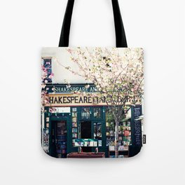 Cherry blossoms in Paris, Shakespeare & Co. Tote Bag