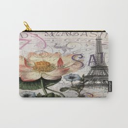 french scripts lotus floral vintage paris eiffel tower Carry-All Pouch
