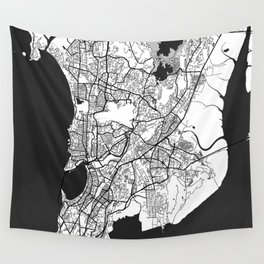 Mumbai Map Gray Wall Tapestry