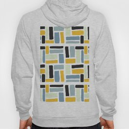 Abstract yellow black geometric modern brushstrokes  pattern Hoody