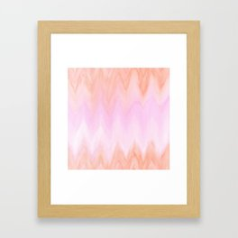 Geometric hand painted coral pink watercolor ikat chevron Framed Art Print