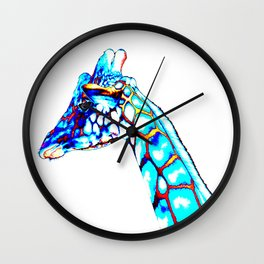 Colorful Giraffe, Pop Art, Modern Art, ColorfulAnimalArt Wall Clock
