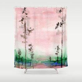 Pink and Green Watercolor Landscape Shower Curtain