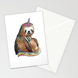 sloth unicorn dom masc top rainbow Stationery Cards