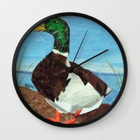 duck Wall Clocks featuring Duck by GiGi Garcia Collages