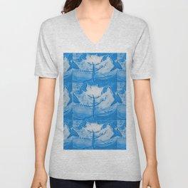 Slate Blue Maple Leaf Unisex V-Neck