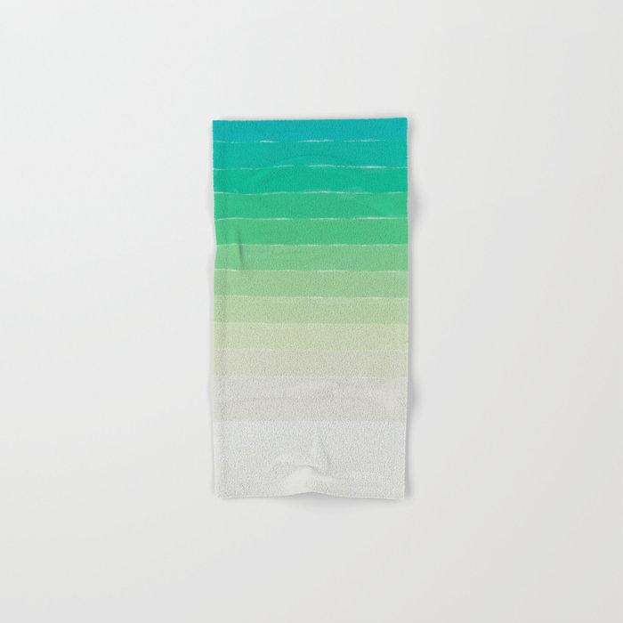 Shades of Ocean Water - Abstract Geometric Line Gradient Pattern between See Green and White Hand & Bath Towel