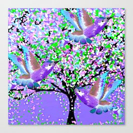 BIRDS OF SPRING PURPLE OIL PAINTING Canvas Print