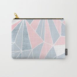 Cool blue/grey and pink geometric prism pattern Carry-All Pouch