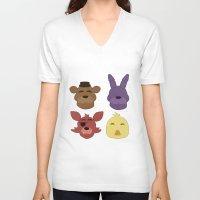fnaf V-neck T-shirts featuring The FNAF Gang by AjaSama