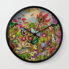 Butterfly Garden Wall Clock