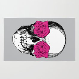 Skull and Roses | Grey and Pink Rug
