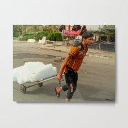 Worker pulls snow Metal Print