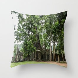Terrace of Elephants Gate at Angkor Thom, Siem Reap, Cambodia Throw Pillow