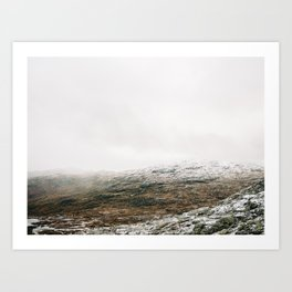 White winter mountain landscape | Norway travel photography print | Trolltunga Wanderlust art Art Print