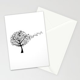 Music tree with flying musical notes Stationery Cards