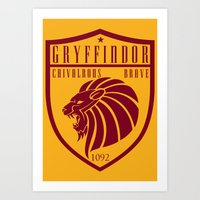gryffindor Art Prints featuring Gryffindor Crest by machmigo
