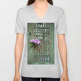 Door With Flowers Unisex V-Neck