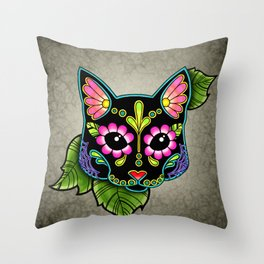 Black Cat - Day of the Dead Sugar Skull Kitty Throw Pillow