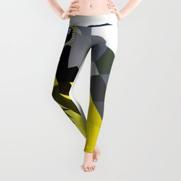 Bird art canada warbler Yellow gray Leggings