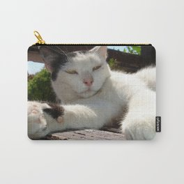 Black and White Bicolor Cat Lounging on A Park Bench Carry-All Pouch