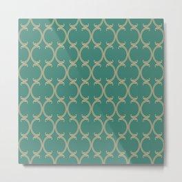 Tan Fancy Moroccan Trellis on Turquoise Metal Print