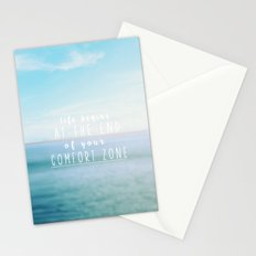 life begins at the end of your comfort zone Stationery Cards