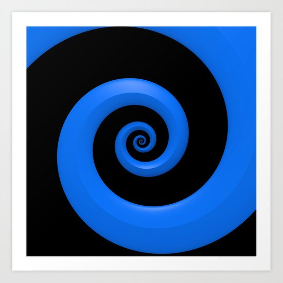 Curl, Blue Art Print