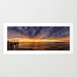 Redondo Beach Stormy Sunset Art Print