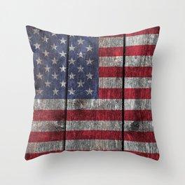 USA flag - on grainy wood Throw Pillow
