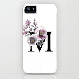Letter 'M' Magnolia Flower Typography iPhone Case