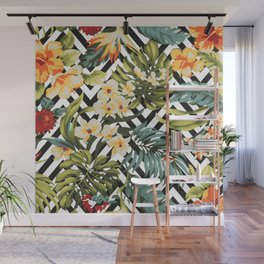 Flowered Chevron Wall Mural