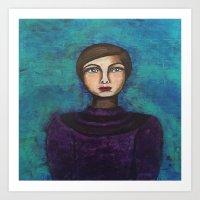 introvert Art Prints featuring Introvert by Leanne Schuetz Mixed Media Artist