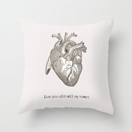 Love you with all my heart vintage illustration Throw Pillow