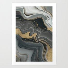 Marbled Elegance Gold Grey Ink Painting Art Print