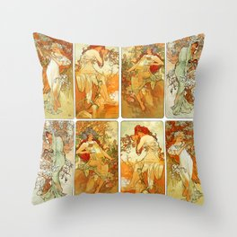 "Alphonse Mucha ""The Seasons (series)"" (1896) Throw Pillow"