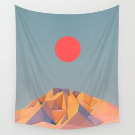 Sun on Mountain Wall Tapestry