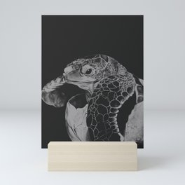 Hatching turtle in black and white Mini Art Print